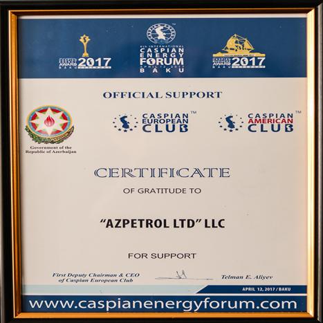 """""""Caspian Energy Award – 2017"""" mükafatına Azpetrol LTD MMC şirkəti """"İlin Yanacaqdoldurma məntəqələri şəbəkəsi""""  naminasiyası  üzrə mükafata layiq görülmüşdür ."""